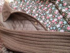 TOPSHOP quilted jacket, knitted sleeves size 12 brown floral