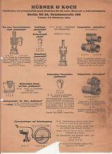 Reklame Blatt Hübner & Koch Berlin Fahrrad Zubehör um 1930 ! (D2