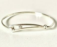 Solid Sterling Silver Sparkle Front Opening Bangle