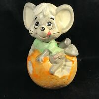 Vintage Ceramic Mouse on Ball of Cheese Coin Bank