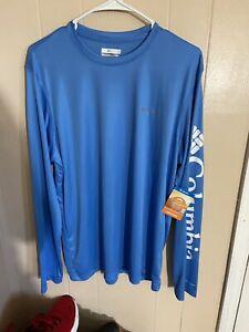 Columbia Omni Shade Rapid Creek Blue Long Sleeve Shirt Mens Medium