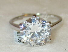925 Sterling Silver 3 Carat Clear CZ Solitaire Ring Size 5 6 7 8 9 10