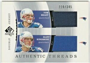 Tom Brady / Kliff Kingsbury Patriots 2003 SP Authentic Dual Jersey Relic RC /345