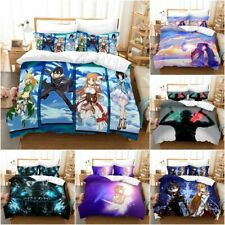 Sword Art Online Bedding Set 3PCS Duvet Cover Pillowcase SAO Quilt Cover UK Size