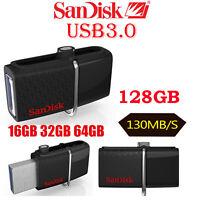 SanDisk 16GB/32GB/64GB/128G OTG Ultra Dual Micro USB3.0 Flash Drive Memory Stick