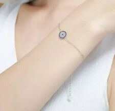 925 Silver Evil Eye Bracelet, Turkish Eye Bracelet Cubic Zirconia Disc Bracelet