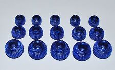 15pcs Sapphire Blue Spacer Mesh Round Beads 18mm, 16mm, 12mm  (W4)