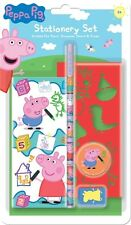 PEPPA  PIG STATIONERY SET SCRIBBLE PAD PENCIL STENCIL ERASER BACK TO SCHOOL PVST