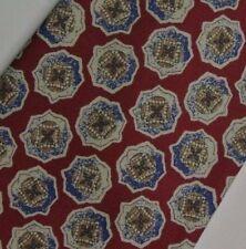 "Red Blue Medallion Silk Tie 3.8"" Wide 57"" Long"