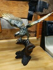 New listing Large Antique Early 20th century Japanese Bronzed Cast Iron Sculpture Hawk Rare