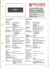 Becker Original Service Manual für Mexico cassette electronic  610 / 614