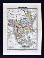 1877 Migeon Map - Turkey in Europe Balkans Bulgaria Romania Bosnia Albany Greece