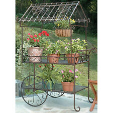 Flower Display Stand Plant Cart Metal Flower Pot Holder Garden Decor w/ Wheels