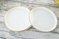 FIRE KING Vintage Oven Ware Milk Glass Gold Rim Snack Plate Set of 4