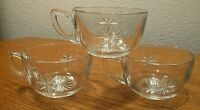 3 Mid-Century Atomic Star Cut Clear Glass D-Handle Punch Cups