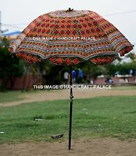 Indian Garden Parasol Floral Hand Embroidered Cotton Outdoor Patio Sun Umbrella