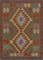 Geometric Southwestern Kilim Oriental Area Rug Wool Hand-Woven Pastel Carpet 3x4