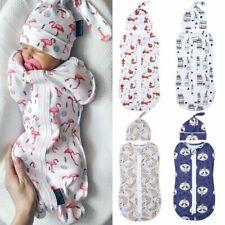 Newborn Baby Cotton Swaddle Blanket Sleeping Swaddle Muslin Wrap + Hat 0-6M Wrap