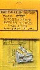 "Details West 295 x HO MU Hoses Approx. 36"" Pre 1980 Locos 4 Hose Cluster"