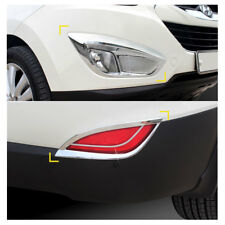 Front Rear Chrome Fog Lamp Lens Molding Trim For Hyundai Tucson 2010-2015