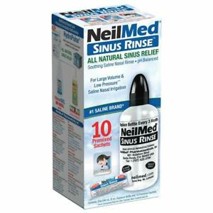 NeilMed Sinus Rinse All Natural Sinus Relief 10 Sachets Starter Kit with Bottle