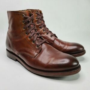 Frye Mens 11.5 Bowery Lace Up Boots Brown Cognac Leather High Top Zip Up Casual
