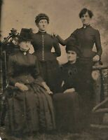 Old Vintage Antique Tintype Photo Four Young Women Ladies In Black Goth Dresses
