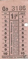 Bell Punch Ticket - Exeter Corporation Transport - 1½d.
