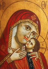 ORTHODOX HAND PAINTED ICON VIRGIN MARY CHRIST CHILD