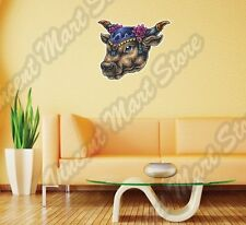 "India Bull Head Ox Cow Taurus Religion Wall Sticker Room Interior Decor 22""X22"""