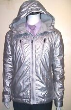 Size L Reflective Jacket Repellent Fleeced Winter Hooded Foldable Metallic Grey