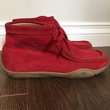Suede Leather Ankle Boots Chukka Roots Canada Red Size 9 Windsors Lace Up