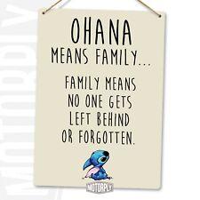 Metal Wall Sign - Ohana Beige - Lilo Stitch Disney Cute Family Love Gift