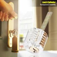 Acrylic Transparent Lock Cylinder Straight Type Training Practical Lock w/ 2Keys