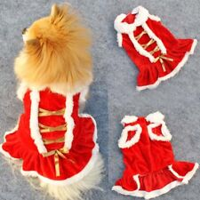Pet Cat Dog Dress Christmas Warm Skirt Red Costume Clothes Puppy Winter Festival