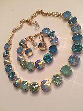 Swarovski crystal elements Necklace Bracelet Earring Turquoise & Aquamarine AB