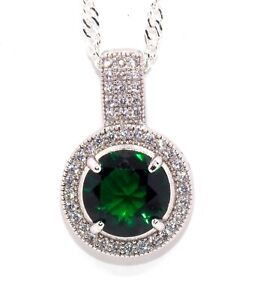 Silver Emerald And Diamond 1.64ct Cluster Necklace Free Box