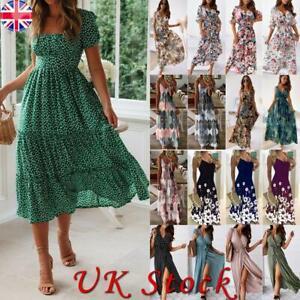 Womens Floral Holiday Casual Midi Dress Summer Beach Maxi Sundress Plus Size UK