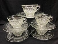 Lot Of 5 LIBERTY GLASS CO American Pioneer Clear Depression Glass Cups & Saucers