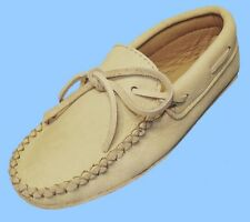 New MENS size 8 CARIBOU-REINDEER LEATHER DRIVING SHOE-BOAT-MOCCASIN-TRIPLE SOLE