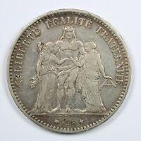 Pièce Argent 5 francs Hercule Année 1875 Atelier A Paris Silver coin France