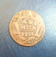 bc9-13. Old Coin From Collection Russia Empire Russland DENGA 1/2 kopeken 1735