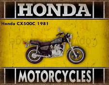 Honda CX500C 1981 MOTORCYCLE METAL TIN SIGN POSTER WALL PLAQUE