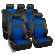 Faux Synthetic Leather Car Seat Covers for Auto Universal Fit Black Blue