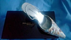 Roland Cartier Silver Floral Annalie Slingbacks - Gorgeous - Size EU 38 / UK 5