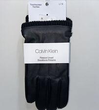 CALVIN KLEIN Size L Black Fleece Lined Touch Screen Gloves RETAIL $55
