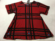 NWT Reborn S Small Red Plaid Blue Plaid Tunic Swing Shirt Super Soft