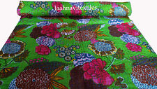 Indian Kantha Handmade Fruit Print Single Size Ralli Quilt Bedspread Blanket Art