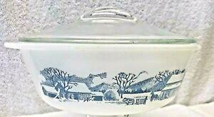 Vintage, Glasbake Currier & Ives Farm Scene, 2-Quart Casserole Dish w/Lid J-514