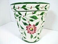 RCCL Portugal Hand Painted Wall Pocket Green Leaves Burgandy Flower 6 in. high